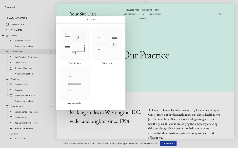 types de pages