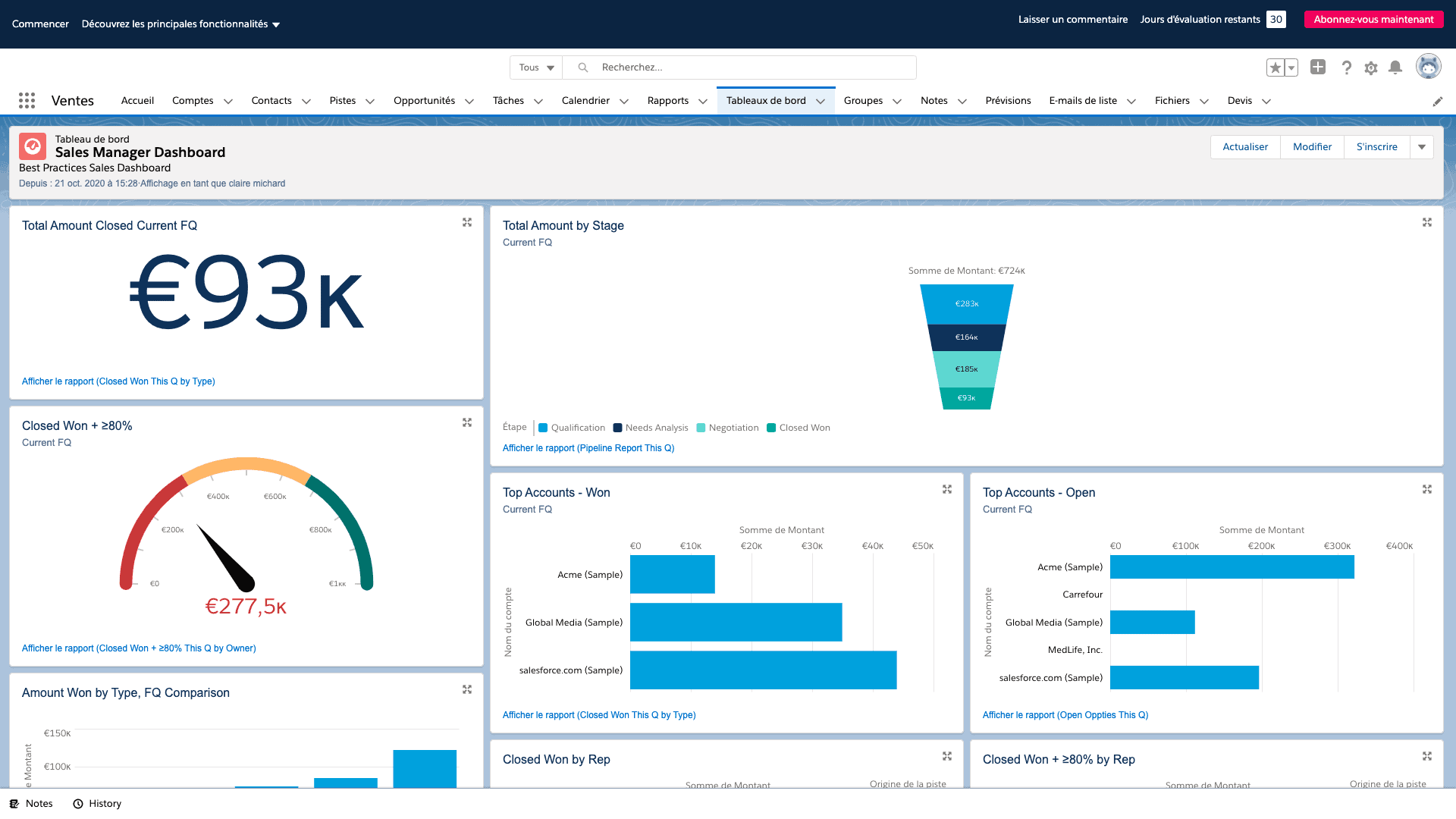reporting salesforce