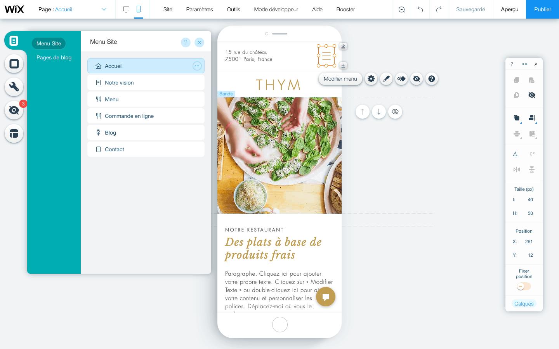 Wix éditeur mobile