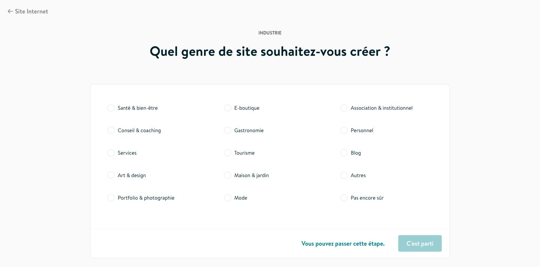 Jimdo Creator type site