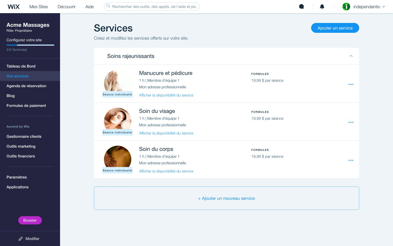 wix réservations