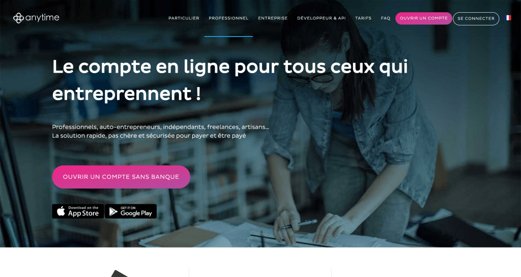 Anytime - Compte pro sans banque