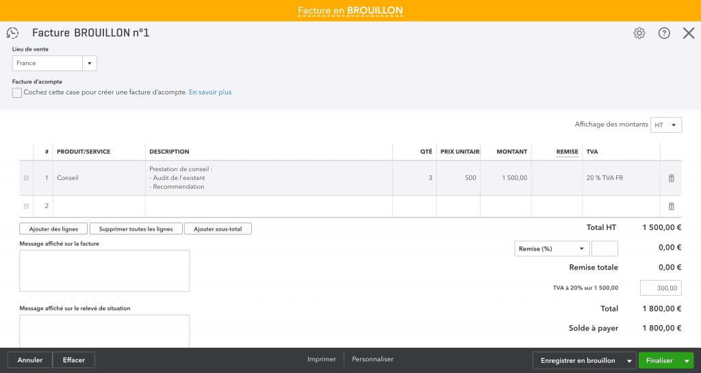 Création d'une facture sur Quickbooks