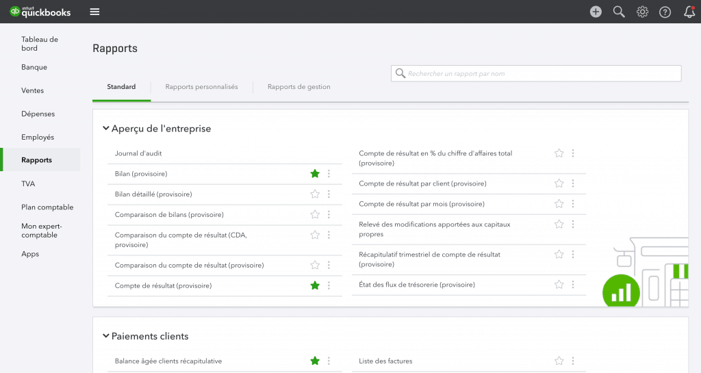 Interface des rapports dans Quickbooks