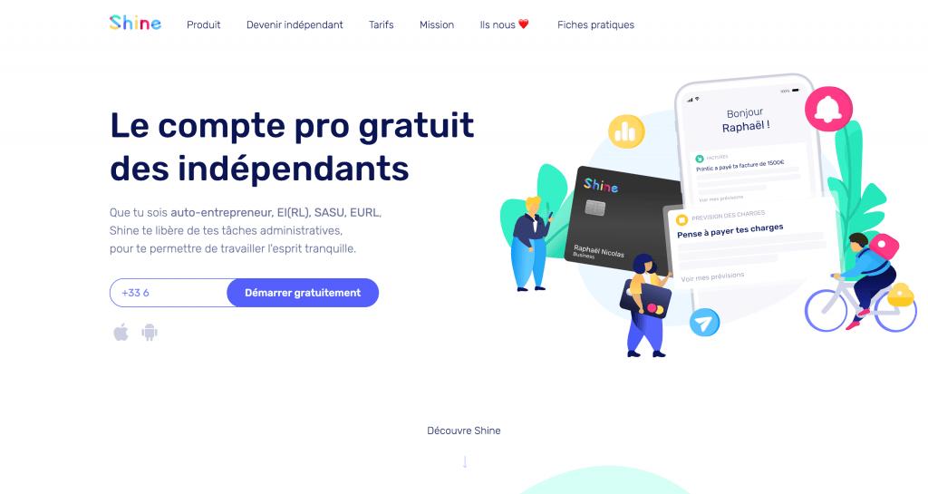 Shine - Compte pro sans banque