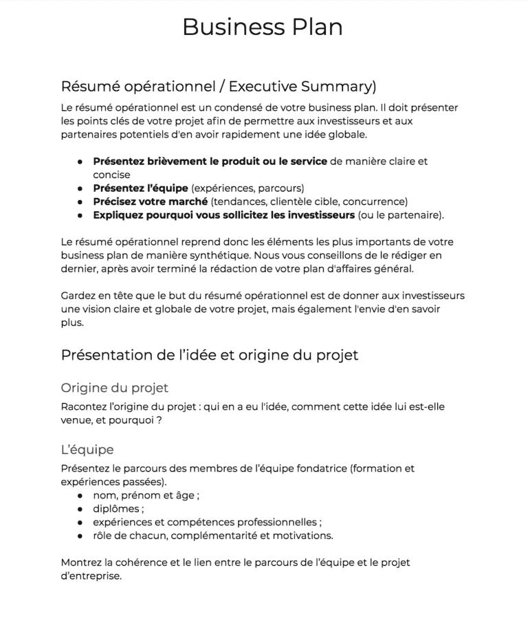 Business Plan Modele Vierge A Telecharger Exemple 100 Gratuit