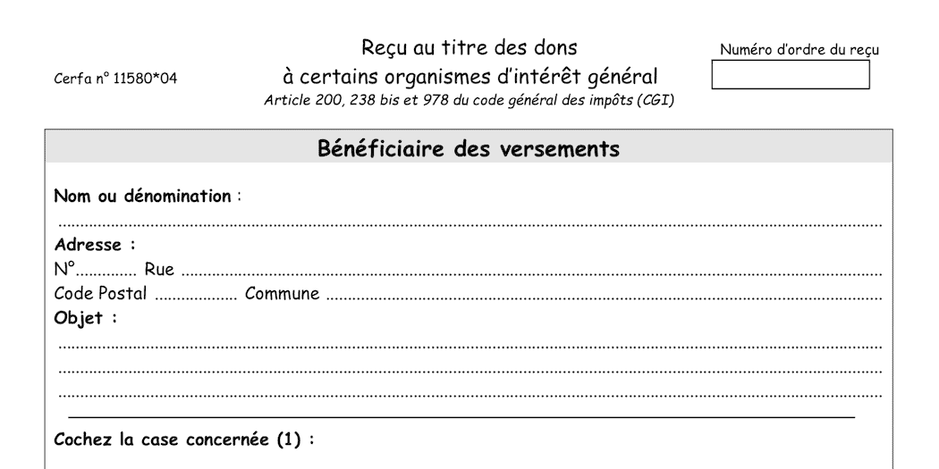 Cerfa don association