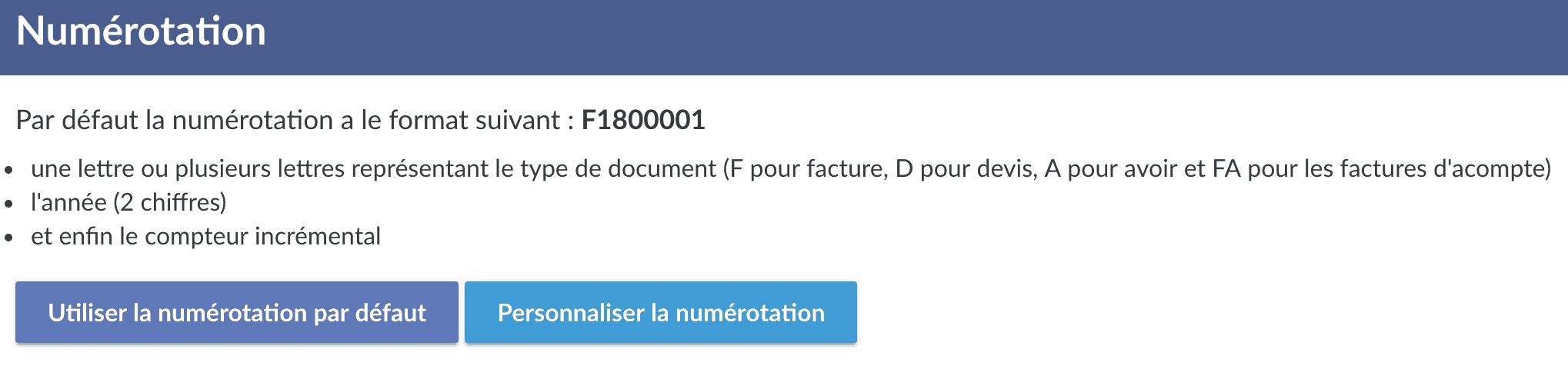 Capture d'écran facture.net numérotation