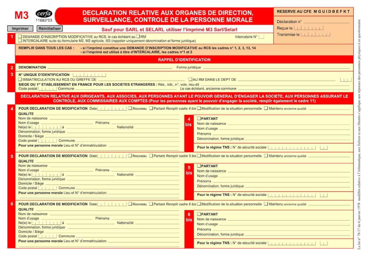 Formulaire M3 cerfa 11683