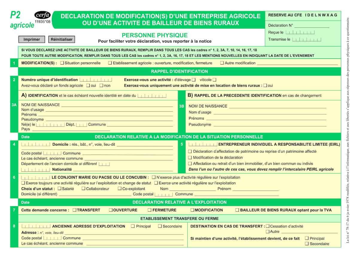 formulaire p2 agricole