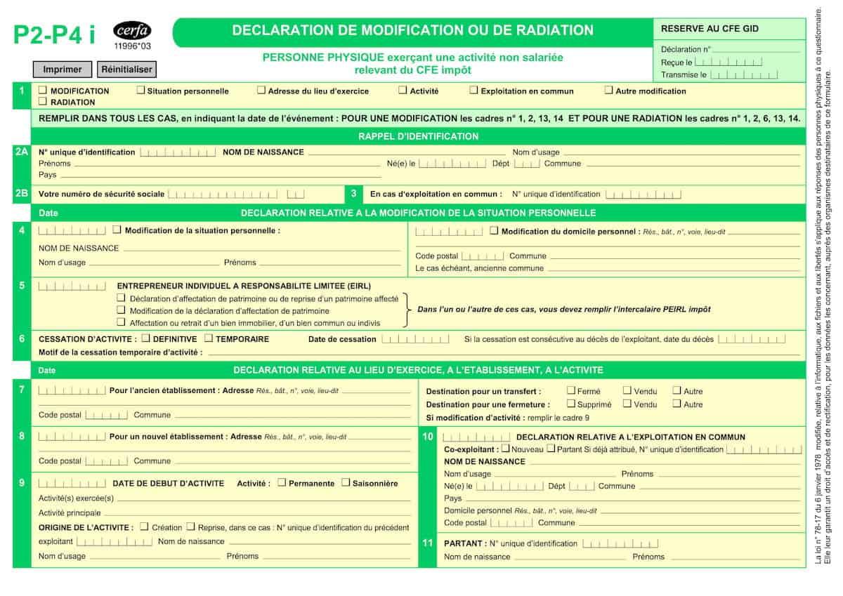formulaire p2-p4i