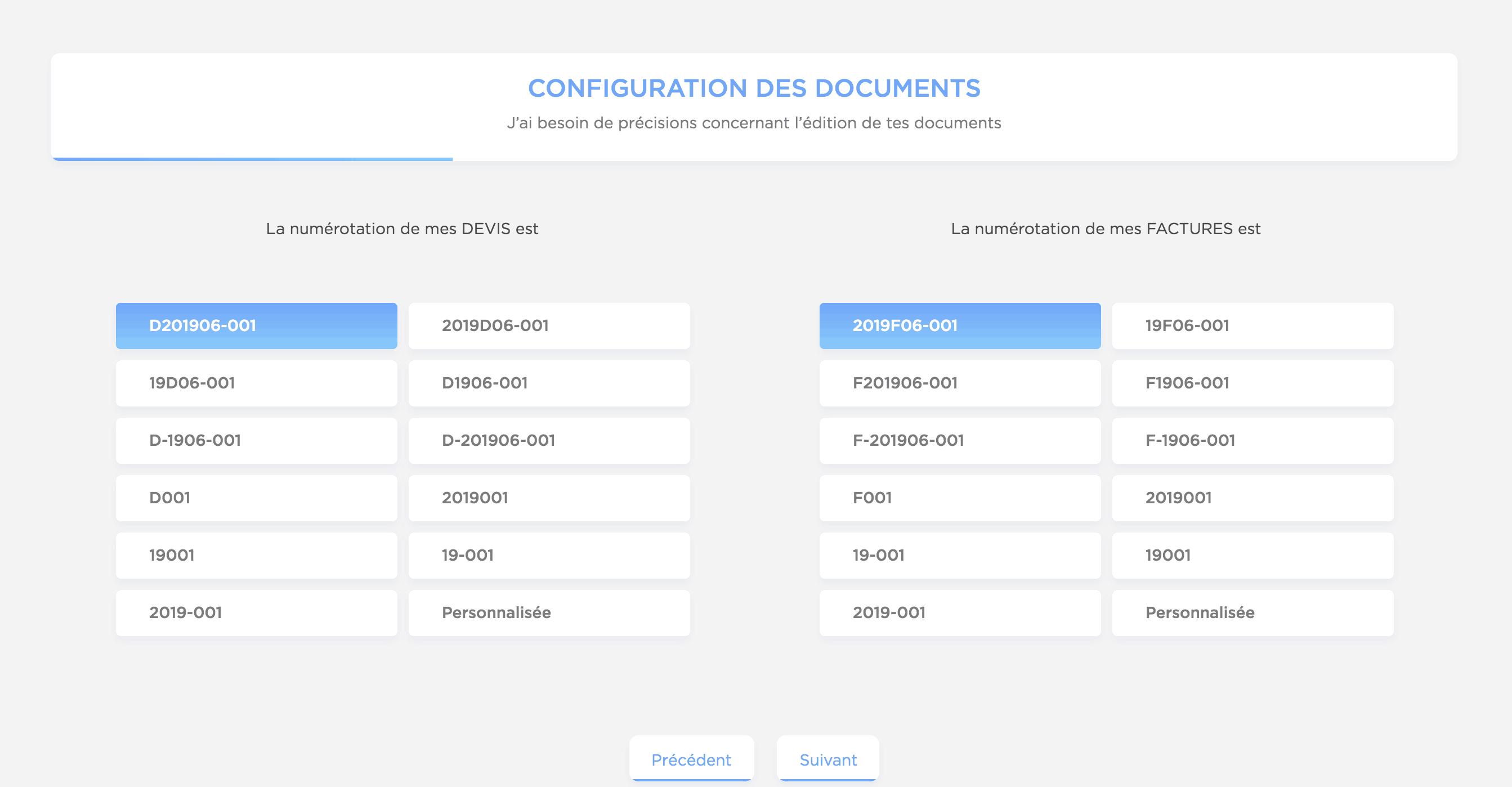 Freebe configuration numéros devis et factures