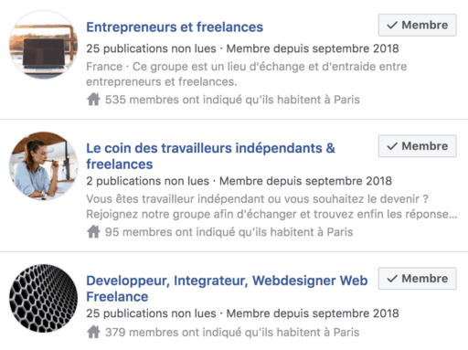 groupes facebook freelance