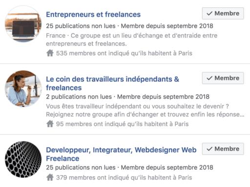 groupes facebook freelance