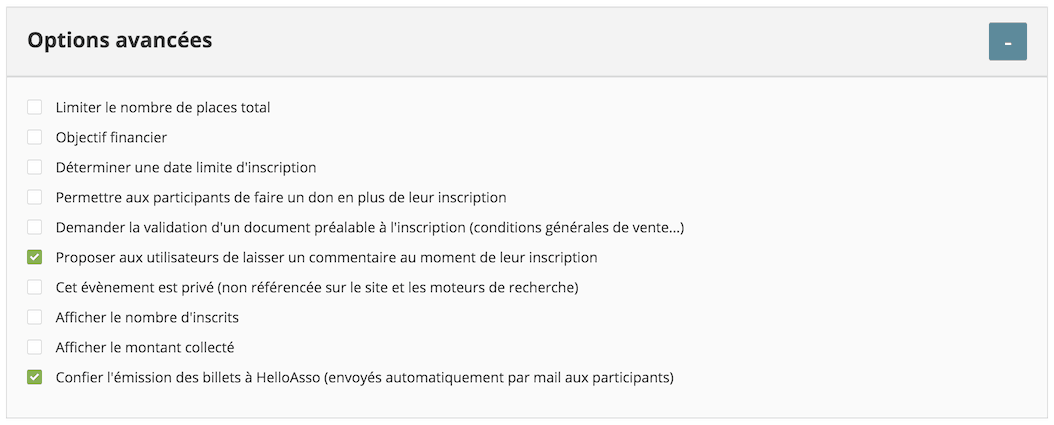Billetterie helloasso options avancées