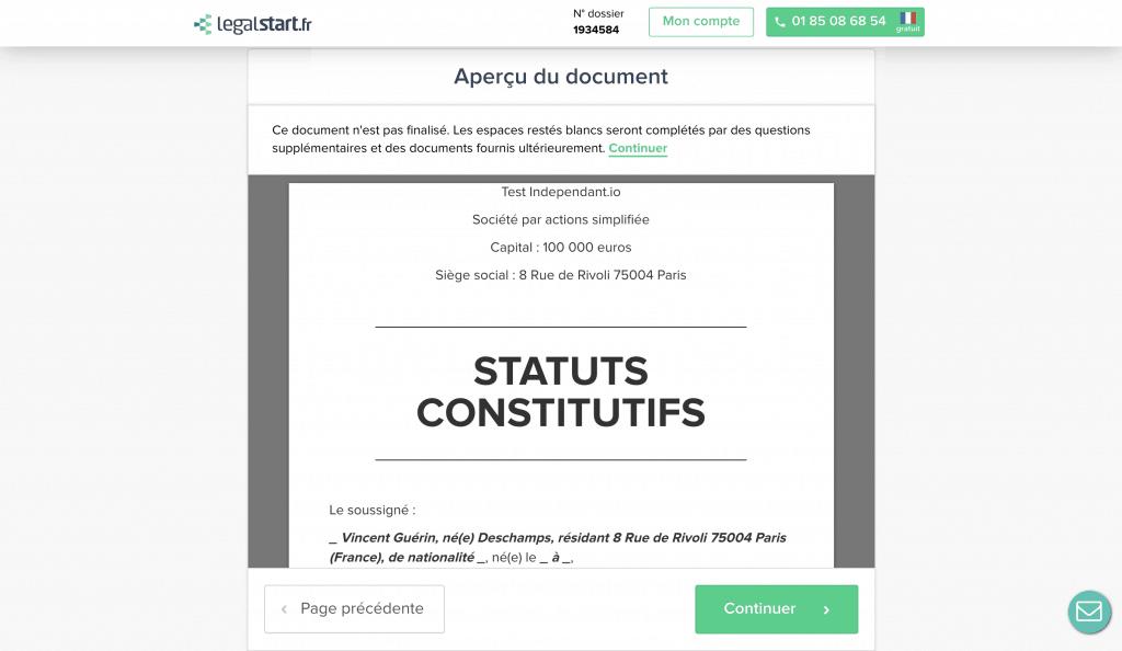 Legalstart aperçu des statuts