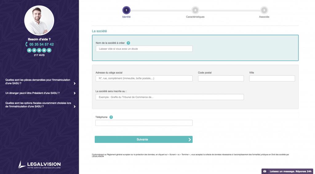 Legalvision outil de création de sasu en ligne