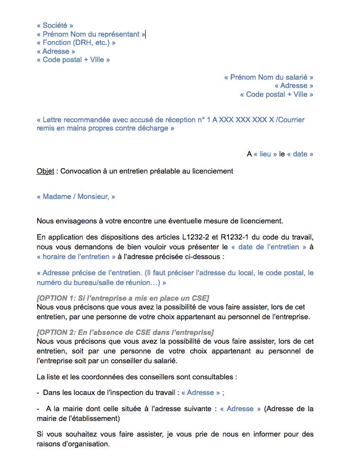 lettre convocation entretien préalable licenciement