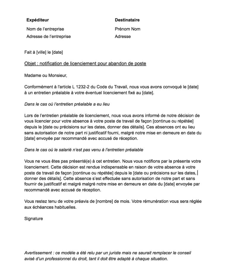 lettre de licenciement pour abandon de poste