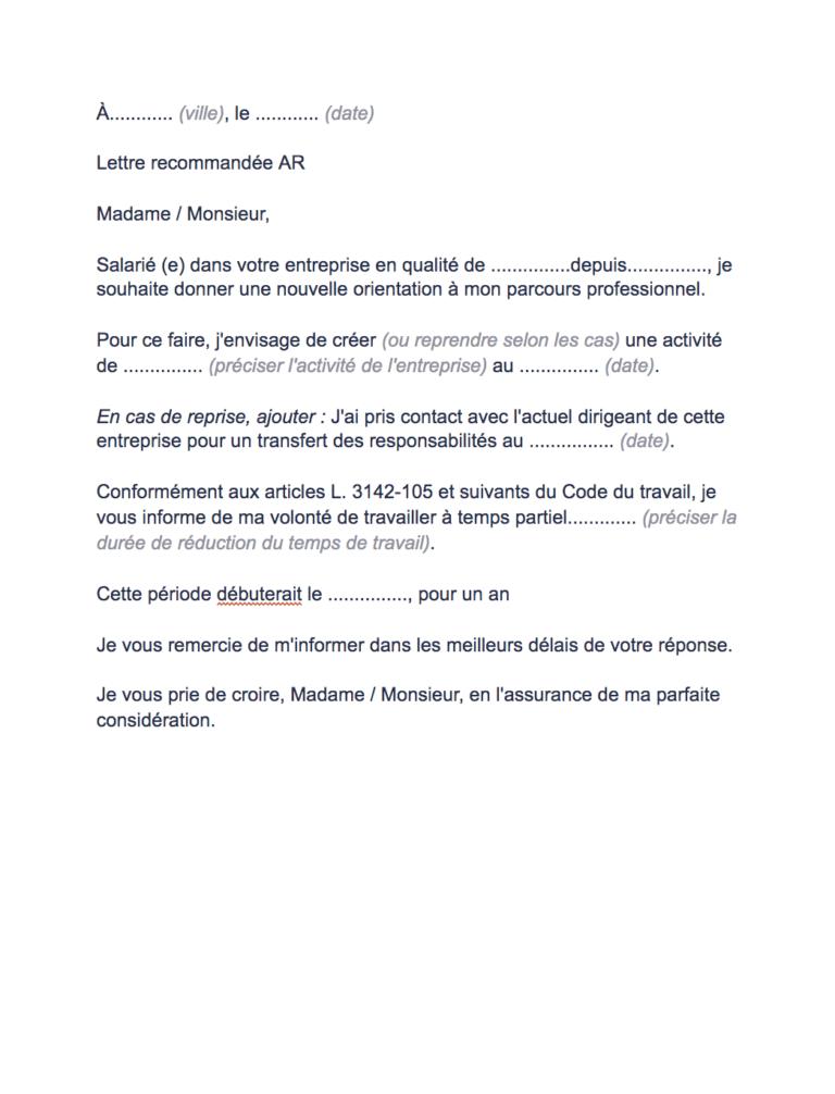lettre demande temps partiel création entreprise