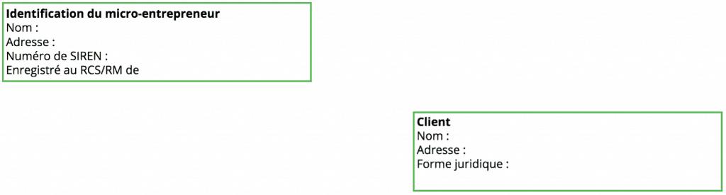 modèle facture micro-entrepreneur - identification