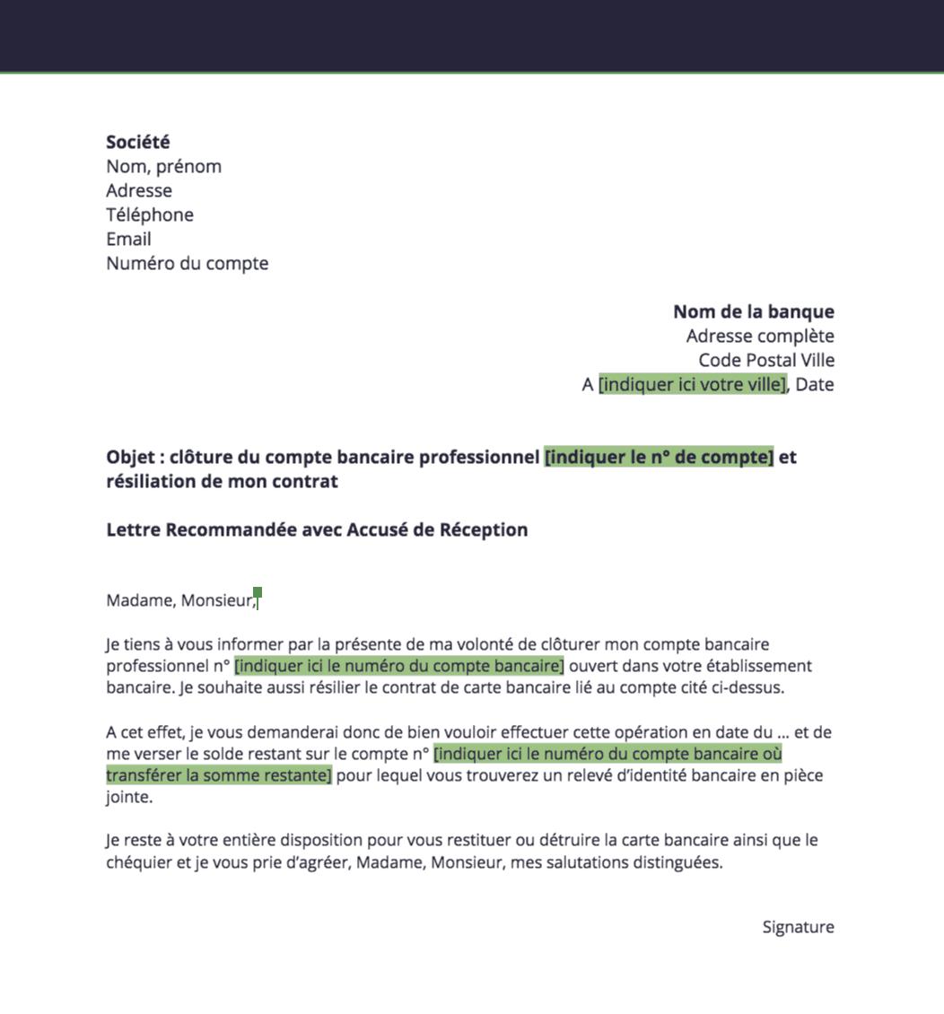 exemples de mod u00e8les  lettre de cloture de compte bancaire