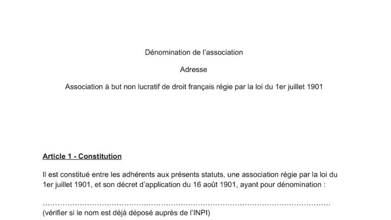 modèle statut association