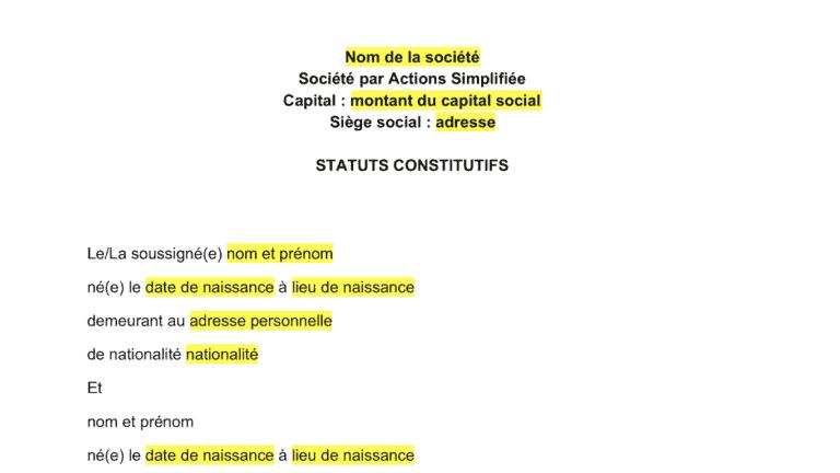 modele statuts sas