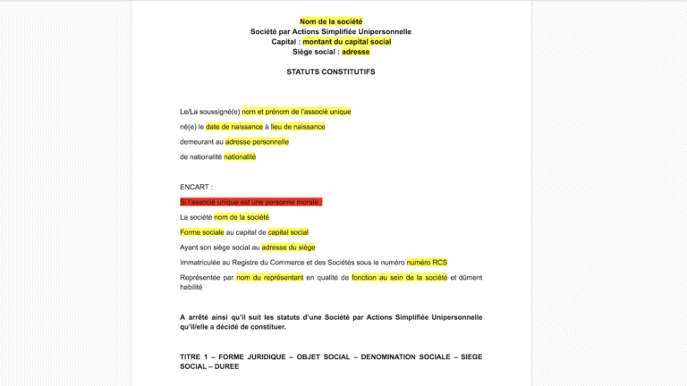 Modèle statuts SASU