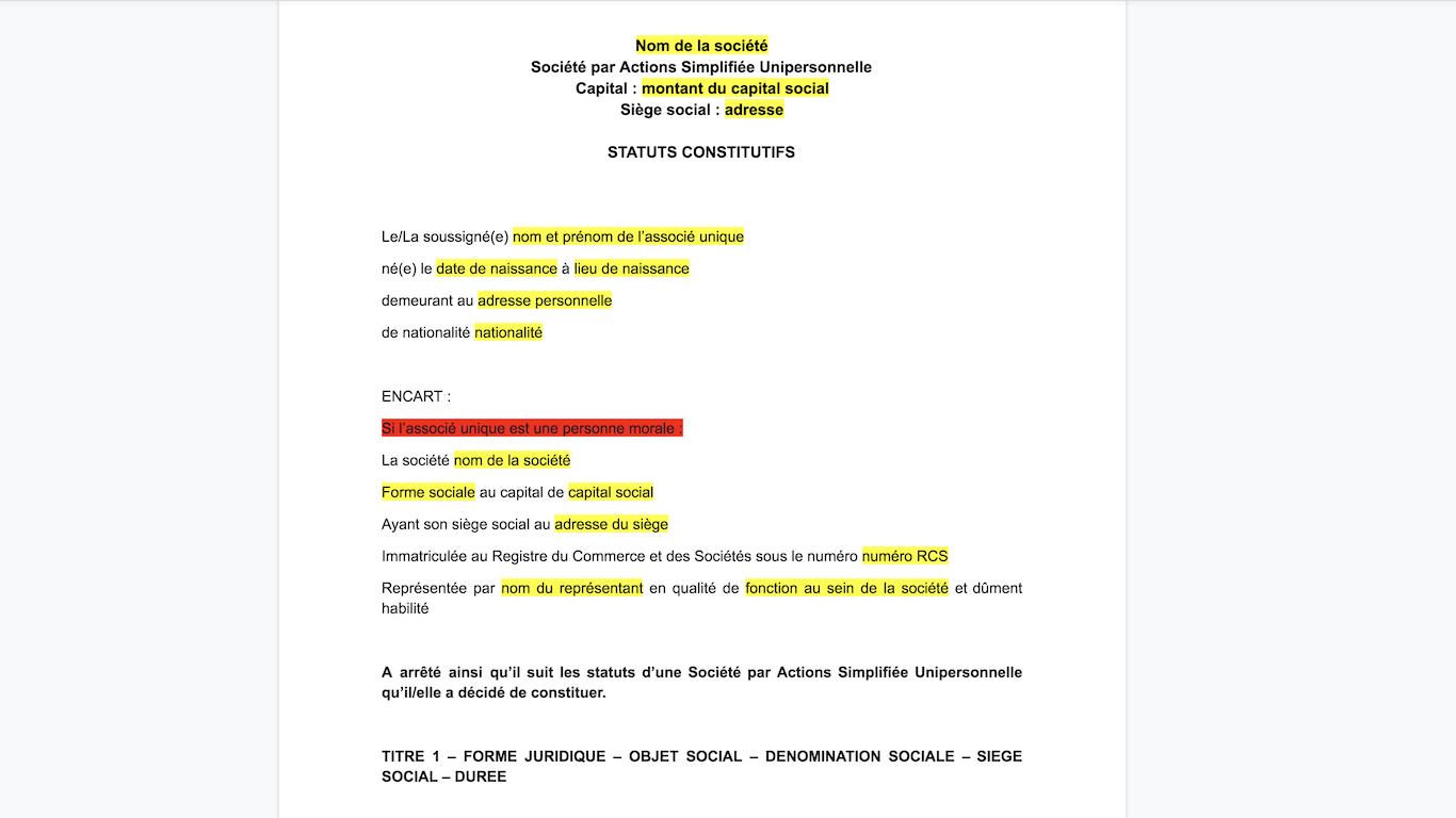 Modele Statuts Sasu 100 Gratuit Sans Inscription Maj 2021
