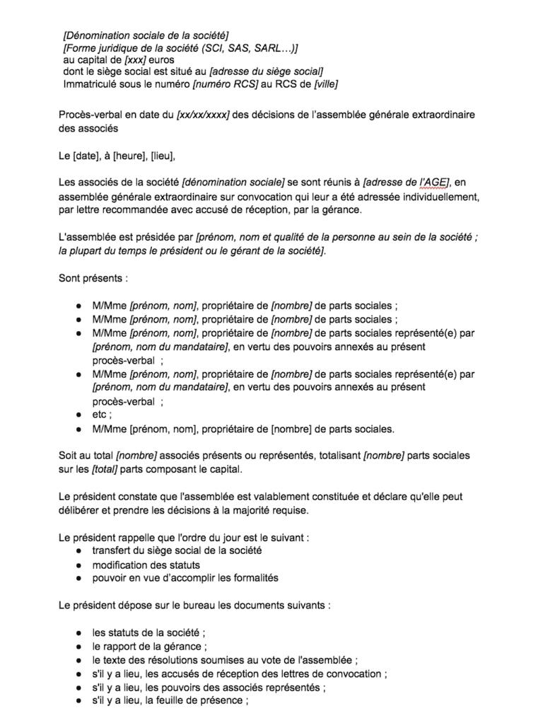 PV AG transfert siege social SCI