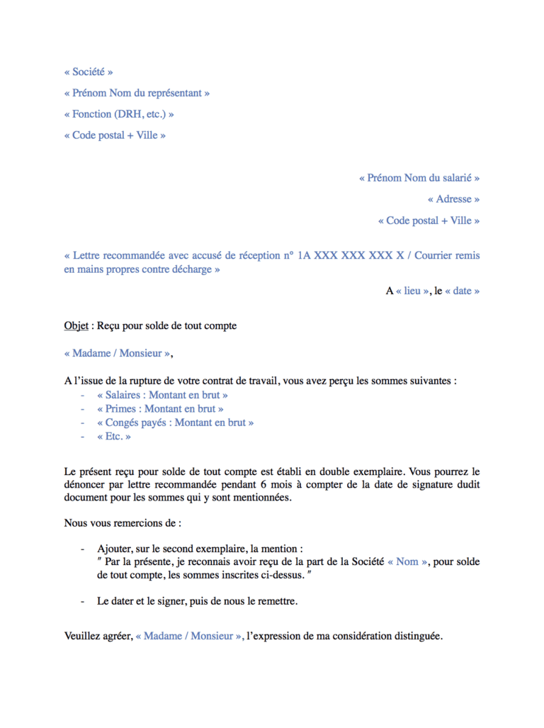 Recu Solde Tout Compte Modele 100 Gratuit Sans Inscription