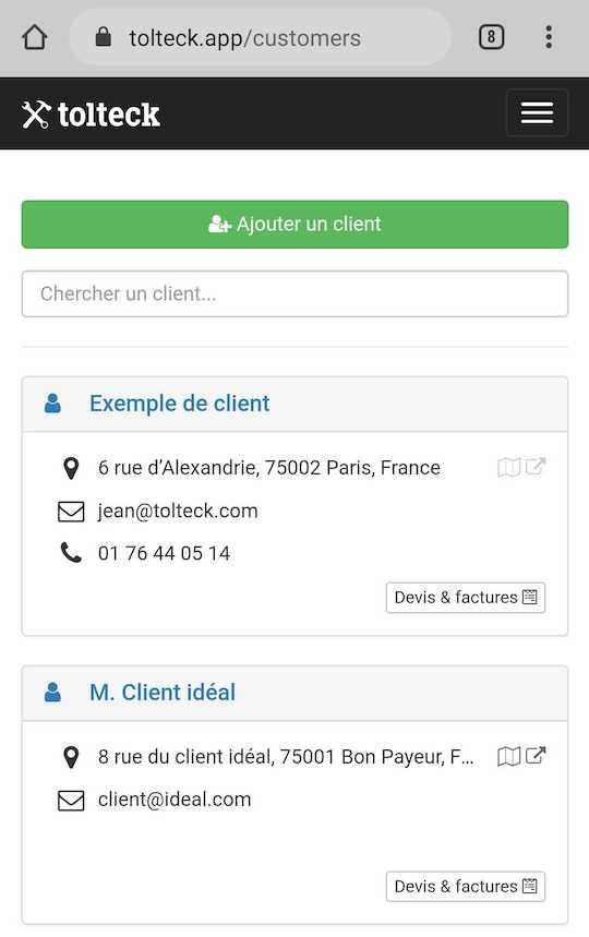 Tolteck client mobile