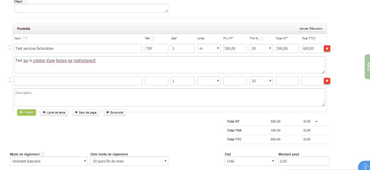 VosFactures contenu facture